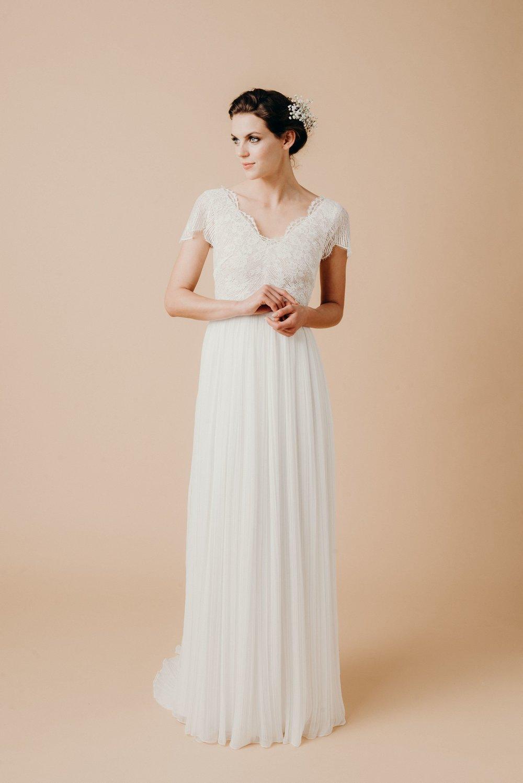 Boho Hochzeitskleid Spitze Chiffon