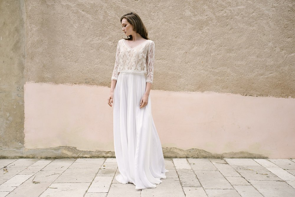 Romantisches Hochzeitskleid Zweiteiler