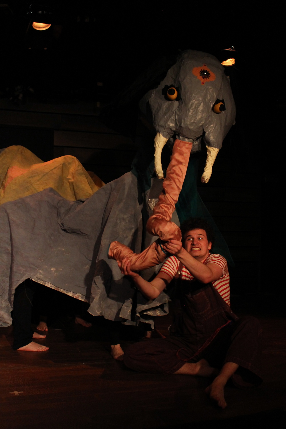 Jack Meets the Cat, directed by Sara Tilley for the Stephenville Theatre Festival, 2014. Featuring Erik Mrakovcic and elephant puppet designed by Tara Manuel, photo by Stephen Tracey.