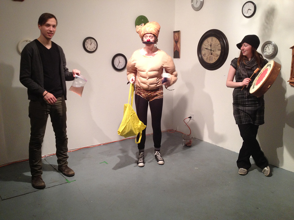 Wiener Shaman gets assistants from the audience, Eastern Edge Gallery. Photo by Mary Macdonald.