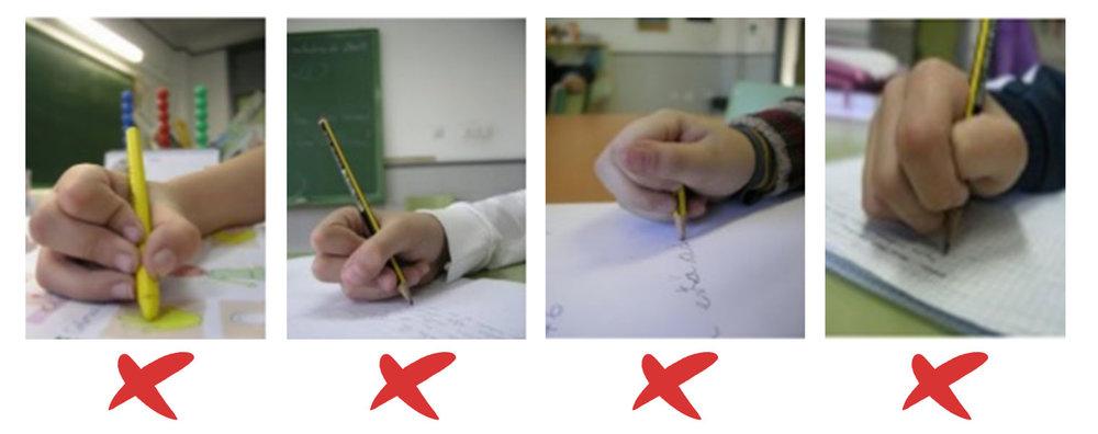 Estas formas de usar el lápiz son muy comúnes hoy en dia, pero ejerce tal presión entre tus dedos que provoca que te canses muy rápido.