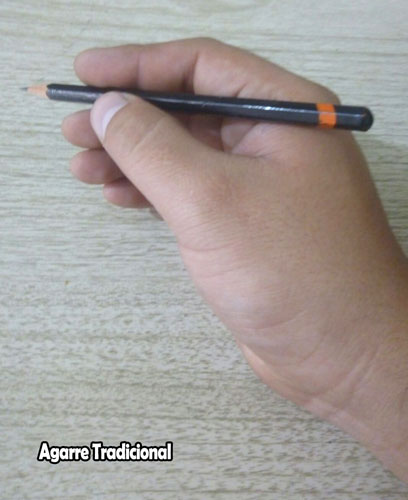 """1.-  Tradicional Grip  Este agarre es conocido como """"agarre tradicional"""". El lápiz se sujeta con el dedo pulgar e índice, el dedo corazón sirve para apoyarlo. También se le conoce como el """" Tripod Grip """" y es el que nos enseñan cuando aprendemos a escribir. La punta del lápiz es lo que hace contacto con la superficie. Hay un montón de control con este agarre, lo que lo hace ideal para los detalles."""