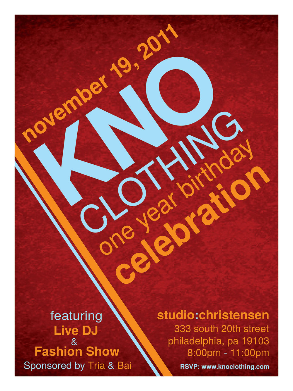 KNO Clothing Party Invitation Design
