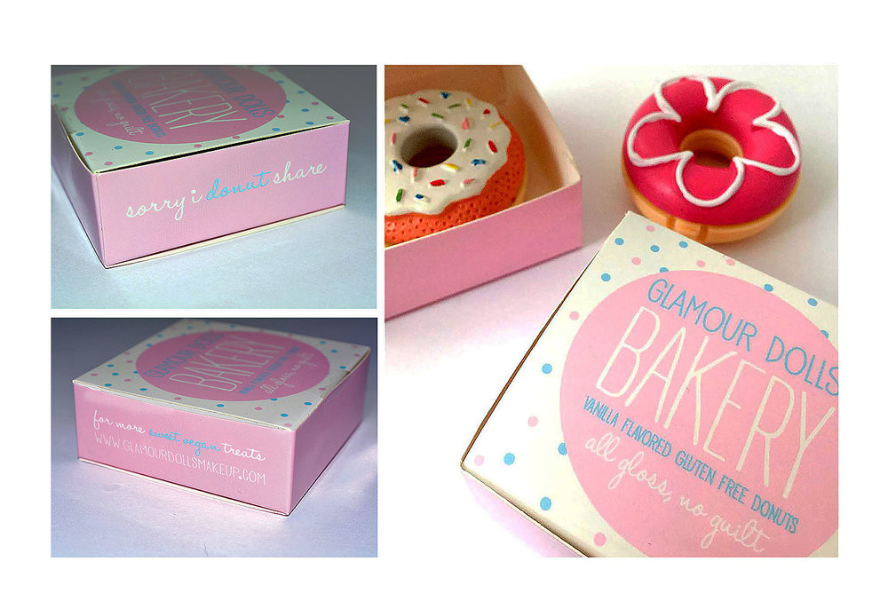 Glamour Dolls Donut Lip Gloss Box Packaging
