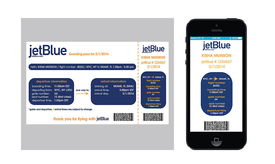 JetBlue Boarding Pass Design