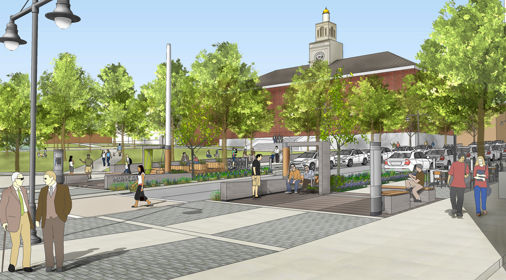 View to City Hall Park from intersection of Main and St. Paul with proposed enhancements (click for larger image)