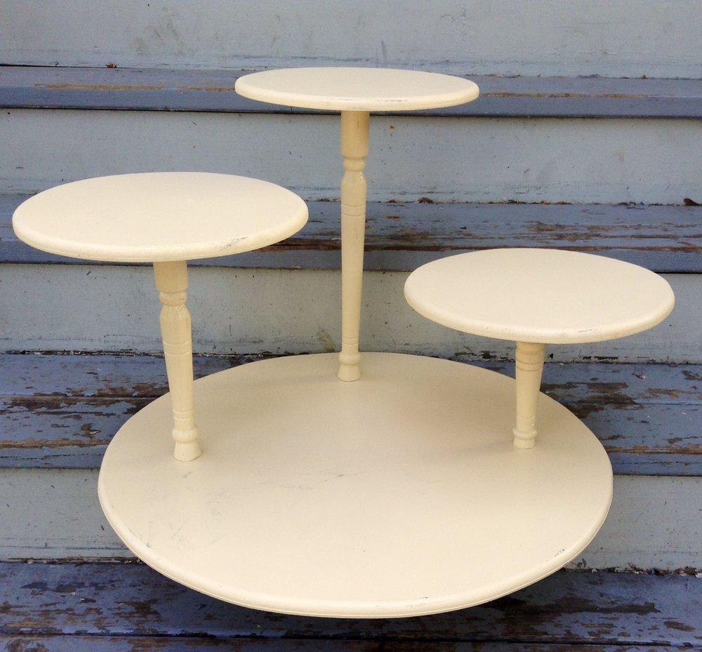 Wooden Cream Tri-Pedestal Stand.JPG