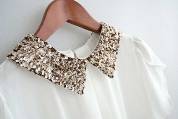 Glitter Sequin Gold White Blouse Fashion Holiday