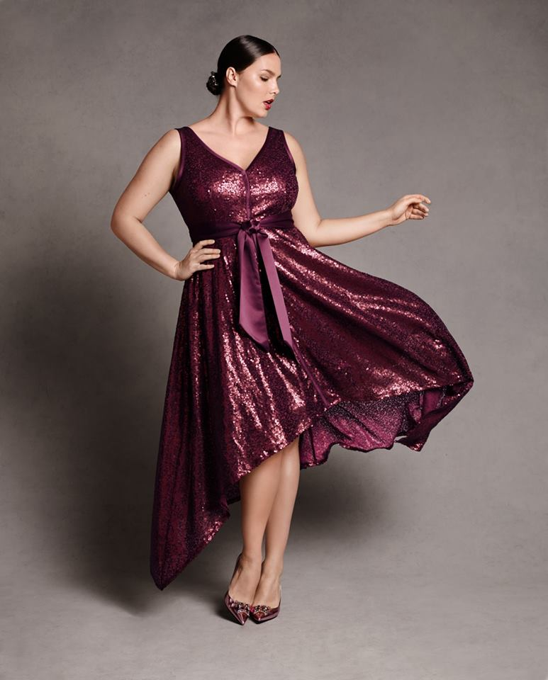 Isabel Toledo Sequin Marsala Wine Colored Dress for Plus Size Women