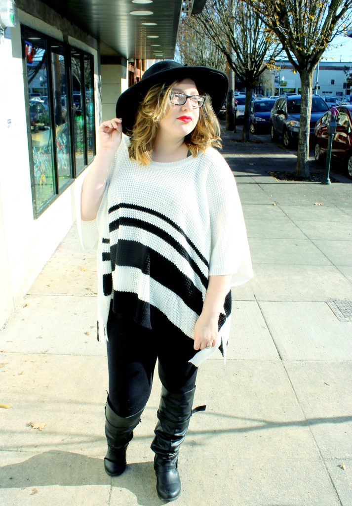 White and Black Striped Poncho Sweater 4