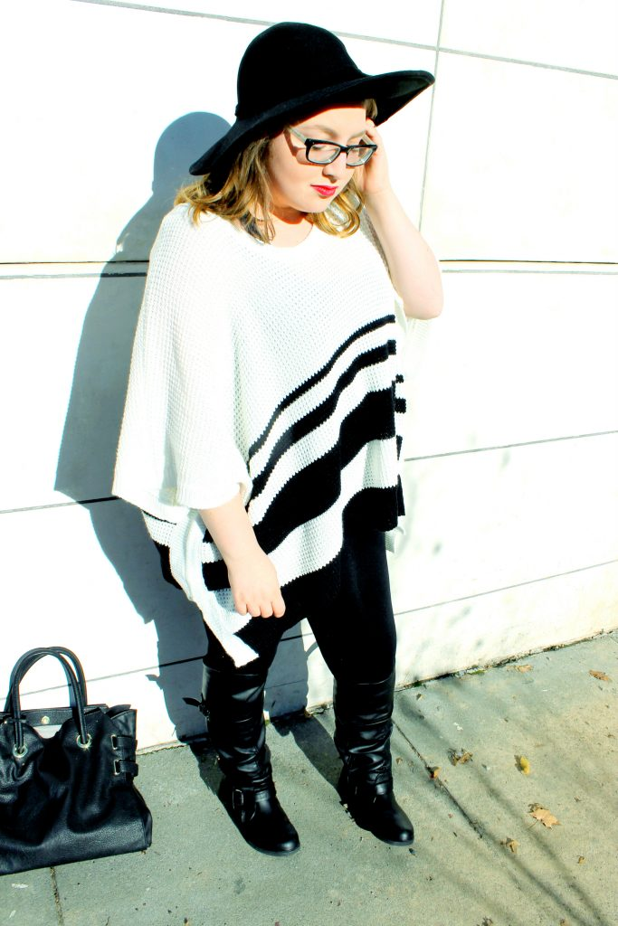 White and Black Striped Poncho Sweater