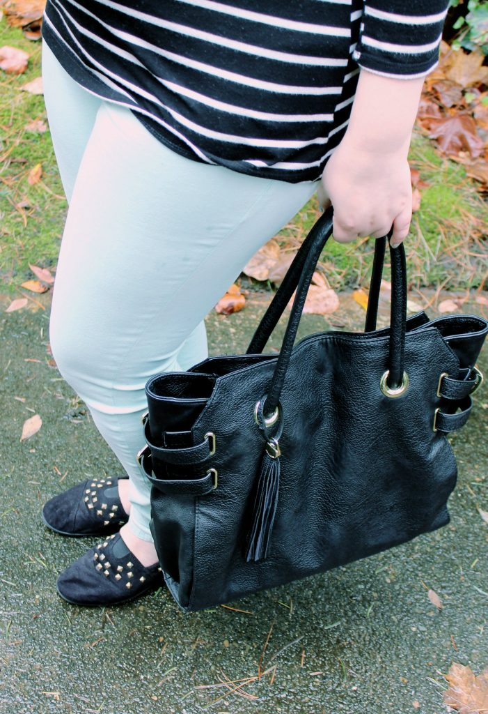 Simple Stripes Fashion Look Steve Madden Bag and TOMS Shoes