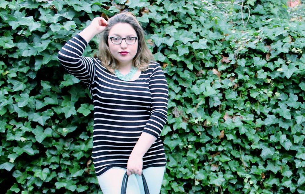 Simple Stripes Fashion Look with Statement Necklace