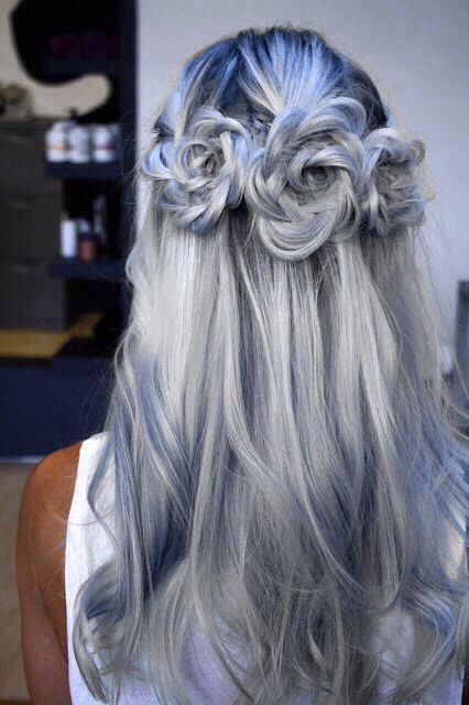 blue and gray hair color with rose buns.jpg