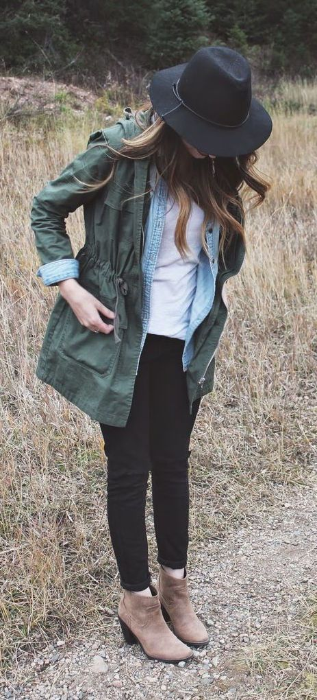 Military Jacket - This military green colored multi-purpose jacket is great for the rain that's coming in just a matter of days! A great layering instrument, the military jacket can be dressed up for a sleeker look (pictured here) or dressed down for a casual