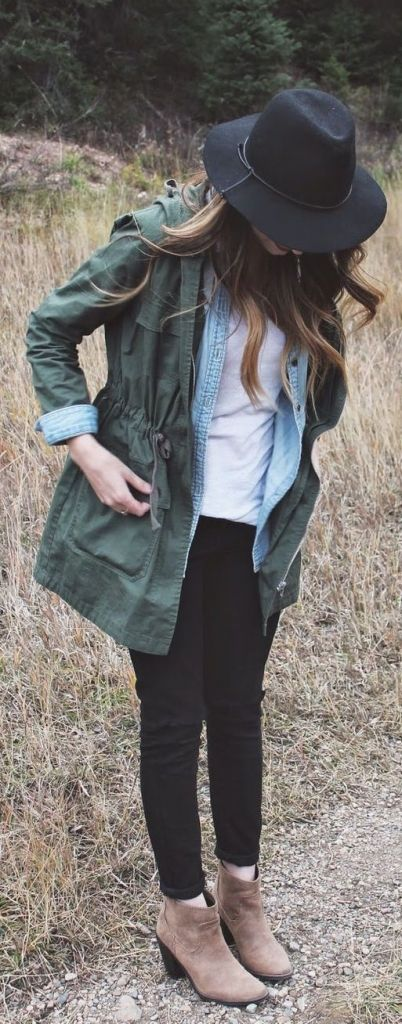 Chambray Shirt + Army Green Jacket - I love this cute warm twist on a t-shirt. Keep that short sleeve in your wardrobe all year by adding long layers!