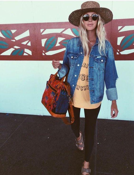 Paired Denim Jacket &Trendy Hat -