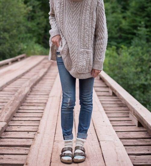 Birkenstock Sandals With Chunky Sweater& Socks -