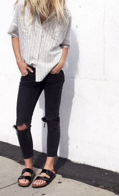 Ripped Jeans & a Boyfriend Shirt -