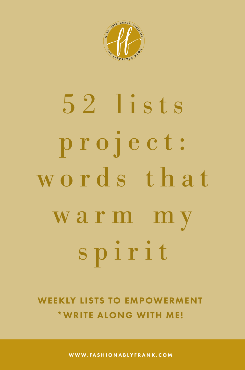 52 Lists Project Words That Warm My Spirit