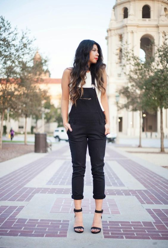 Overalls Paired with High Heels - What a cute way to dress up an otherwise casual outfit! This would be a fun look for a dinner or a night out with girlfriends.