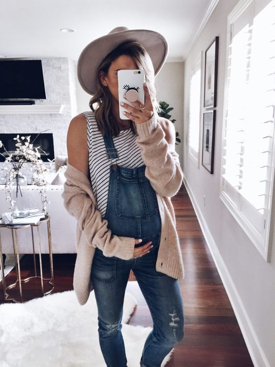 A Hat & a Cozy Sweater - I love the hat with the comfortable sweater. It's a great way to pull out your longer pair of overalls in the late summer/early fall when it starts to get chilly outside!
