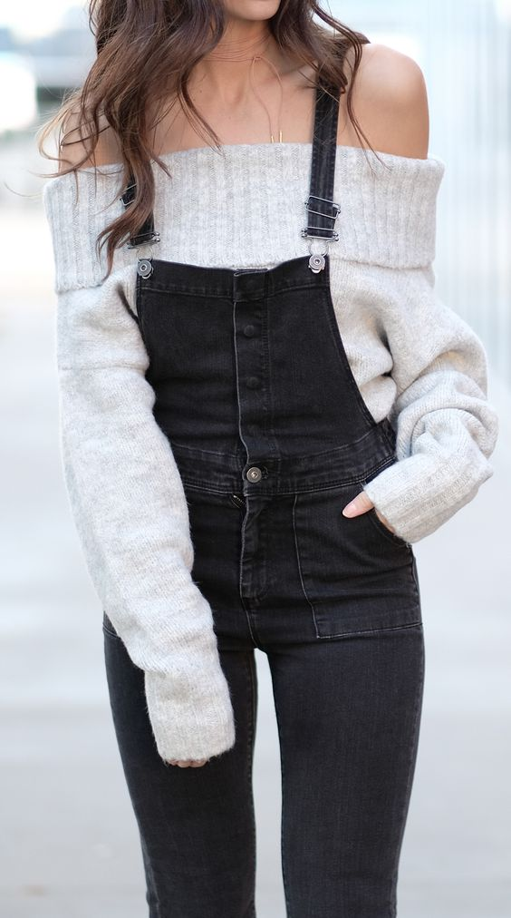 Off-the-shoulder sweater - Feel sexy and comfortable in a fluffy off the shoulder sweater paired with a darker pair of overalls!