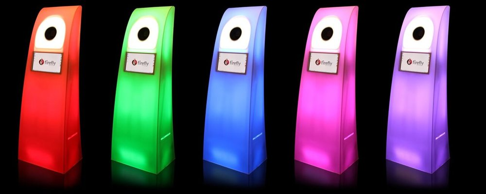 Sleek Photo kiosk with customize-able LED light shows and light to music sync capabilities