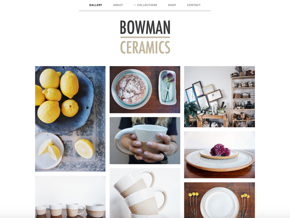 Bowman Ceramics, E- Commerce Shop