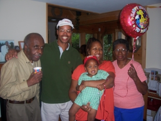 Amari, Paulette, Marc, Grandma, and Grandpa at his 2nd bday party