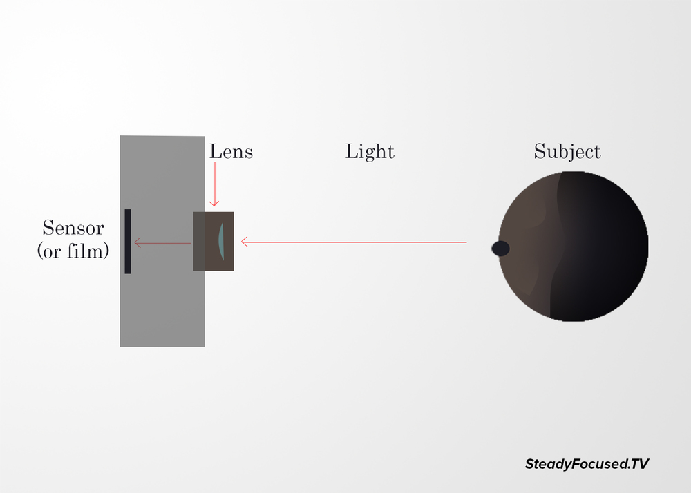 Simple diagram of how a camera works by capturing light to create an image.