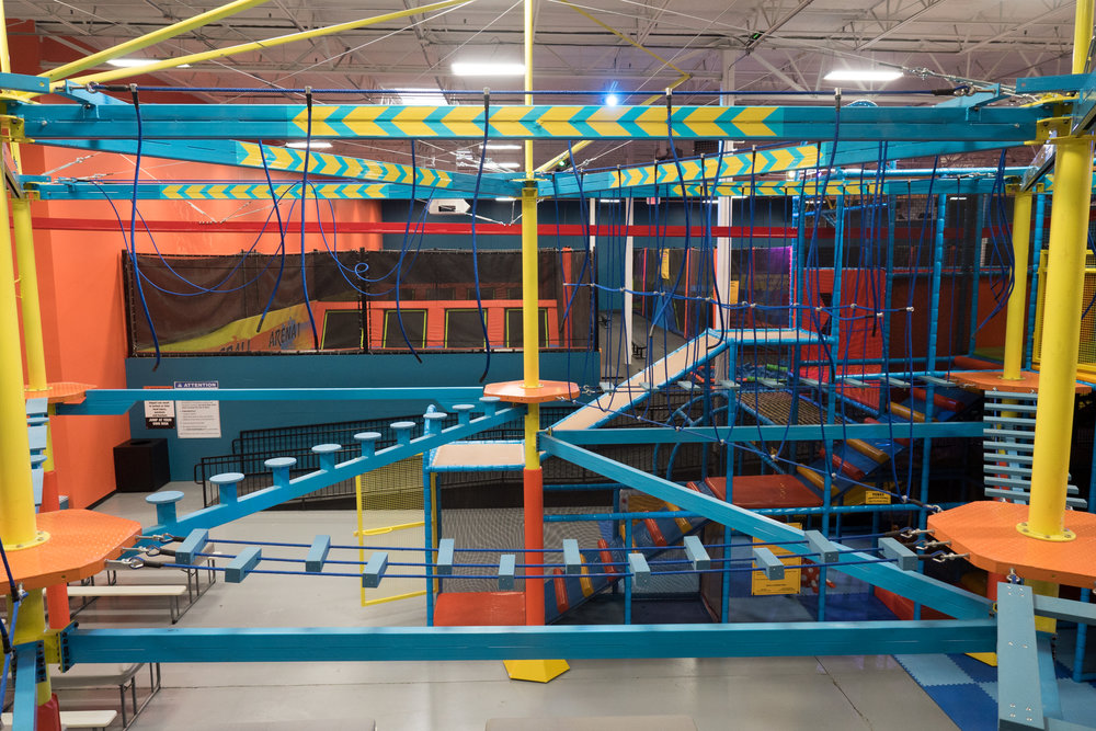 Aerial view of the ropes course, 15 feet above the ground! Defy gravity at Urban Air Adventure Park!