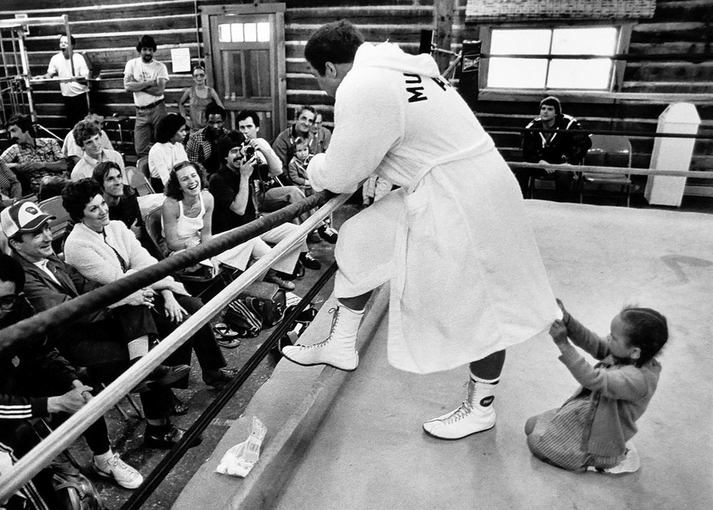 Ali at his training camp in 1980 as he prepared for his rematch with Larry Holmes. Photo by Rex Larsen.