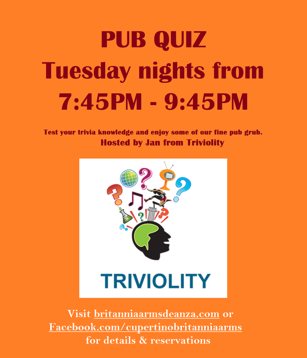 Join us for  Trivia Night  with Jan from  Triviolity ! Call in to reserve your teams starting Tuesday afternoon, 3 P.M.!