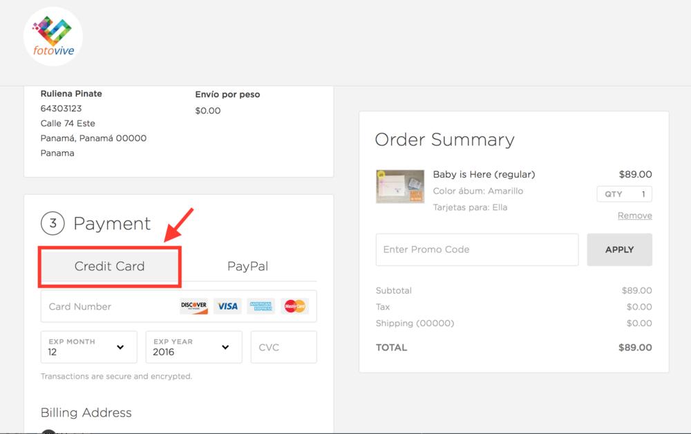 """Para pagar con tarjeta de crédito, debes estar en la pestaña que indica """"Credit Card"""" y llenar los datos"""
