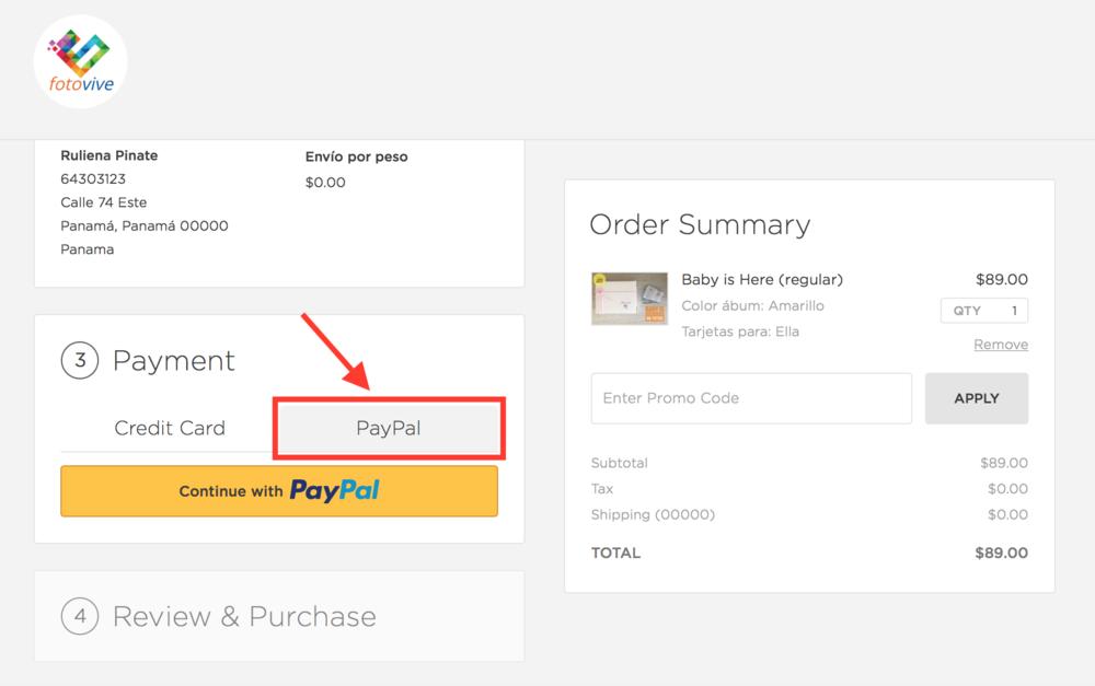 """Para pagar con Paypal, debes moverte a la pestaña """"Paypal"""" y luego presionar """"Continue with Paypal"""" para proceder al pago"""