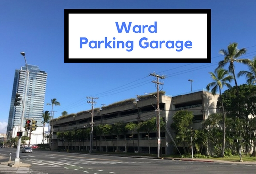 Free Parking is located on levels 4 and 5 at Ward Warehouse Parking garage on the corner of Ward and Auahi st.