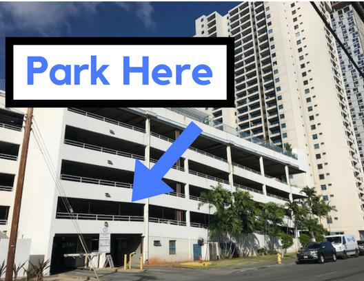 Public paid parking on Halekauwila st. $1.50 per hour.