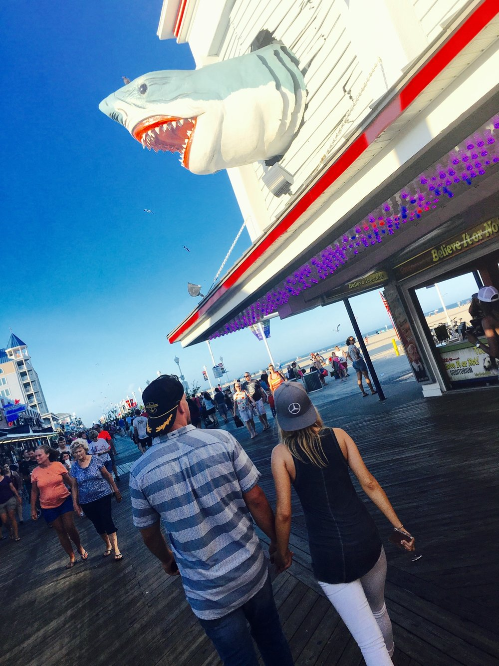We're walking the boards in Ocean City, Maryland in front of Ripley's Believe it or Not!