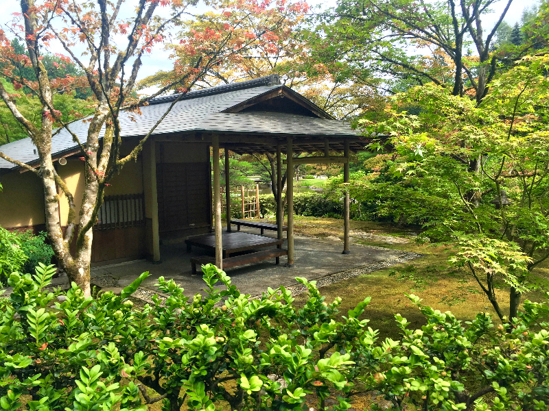 The teahouse in the Seattle Japanese Garden, Shoseian, was built using traditional methods and materials