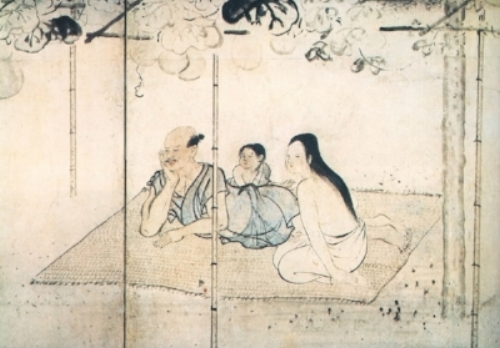 Image of a family enjoying  yuu-suzumi  during the Edo period. Kusumi Morikage (1620 - 1690).  Staying cool under an arbor of evening glory .