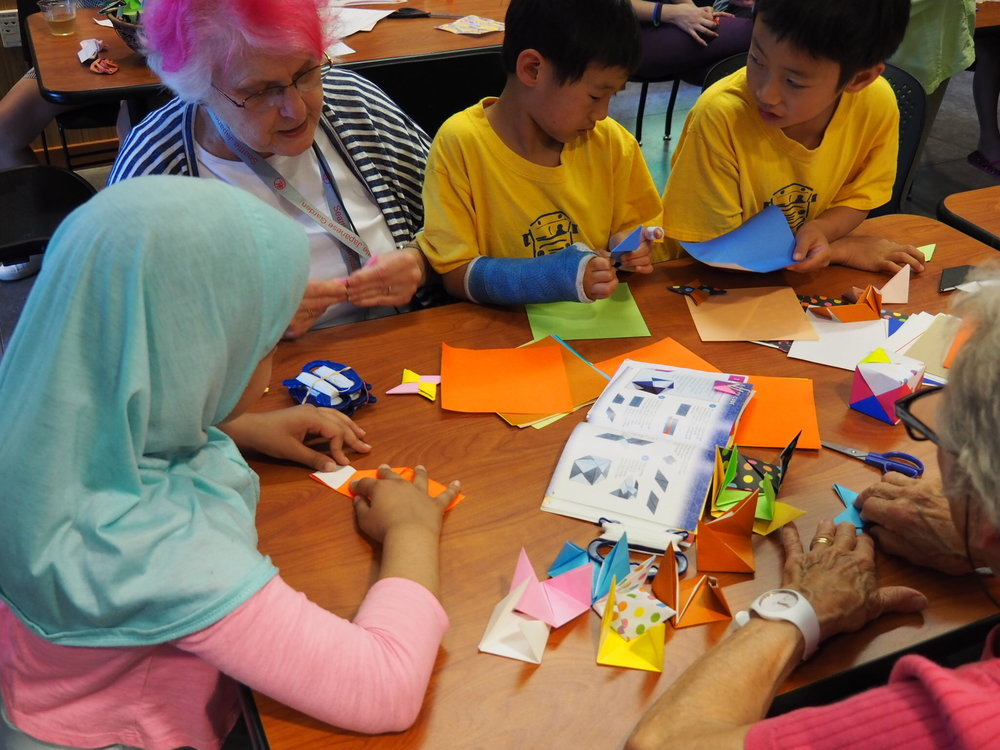 First Thursday Origami Workshop in the Tateuchi Community Room, July 2018