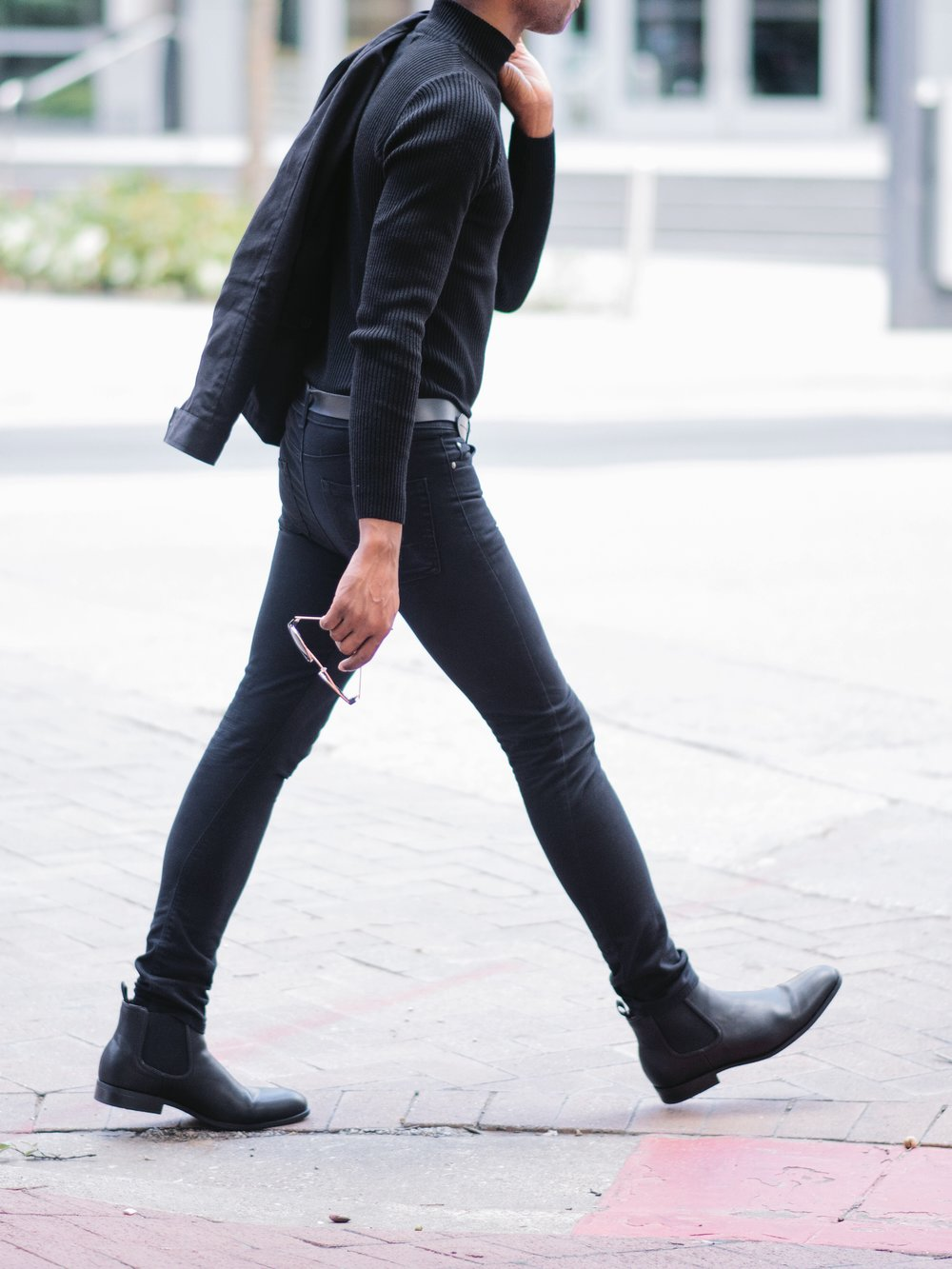 All Black, Turtleneck and Chelsea Boots