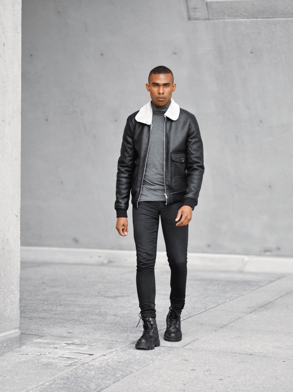 Black Shearling Leather Jacket