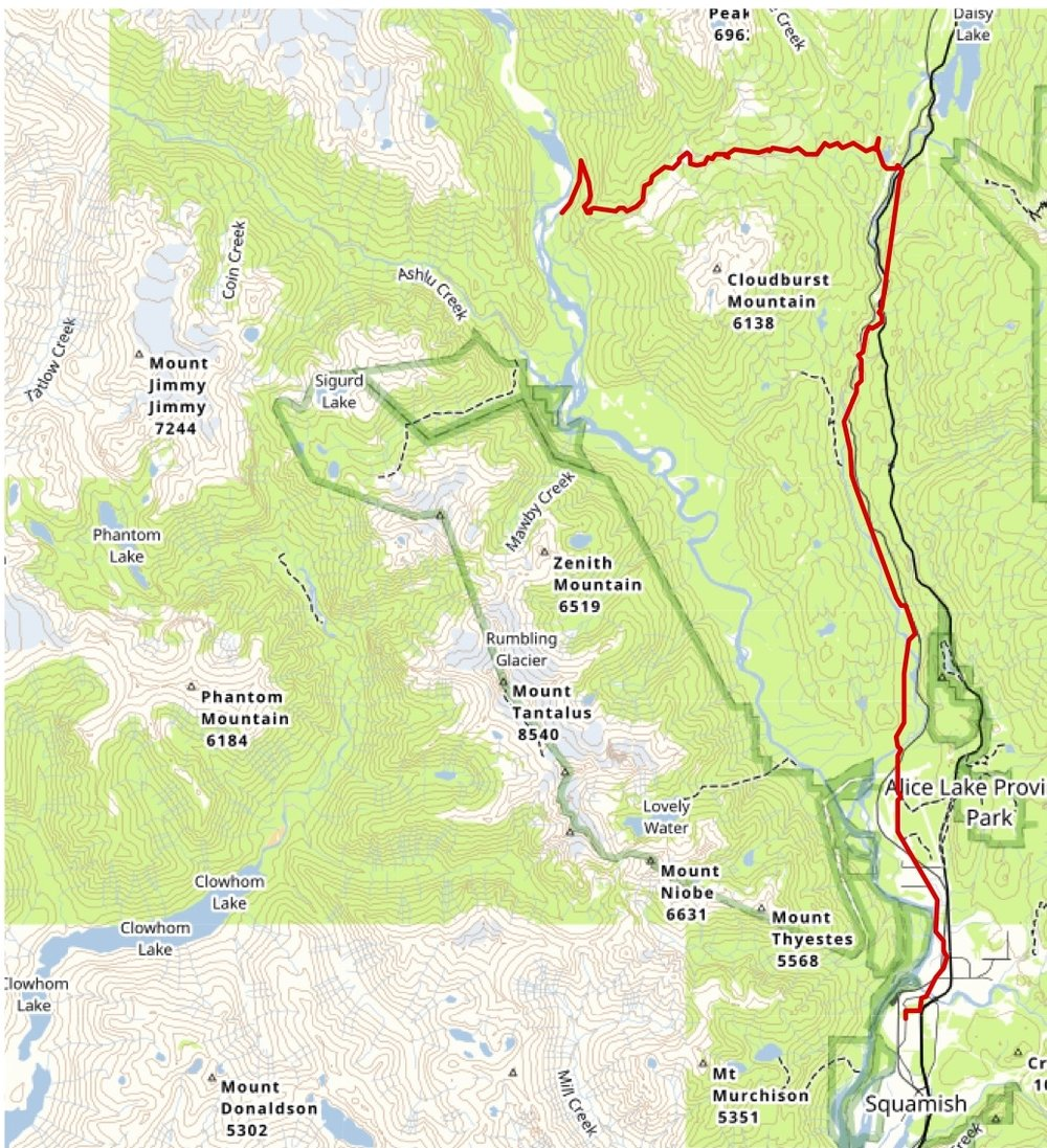 Red = biking route to the put-in. The river completes the loop.