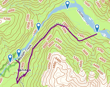 Purple = hiking route, waypoints denote the start and end of the different sections of the river.