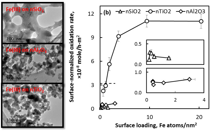 catalytic activity of iron-deposited colloids for peroxide activation.