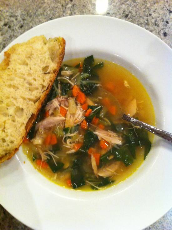 chicken soup with farro and swiss chard