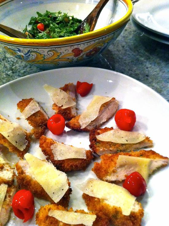 chicken milanesa with peppadews