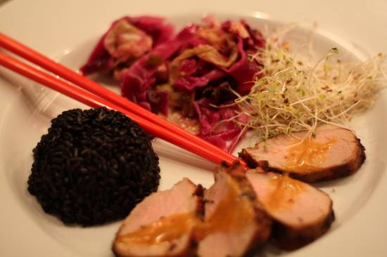 grilled pork tenderloin with sesame-mango dressing and pickled cabbage